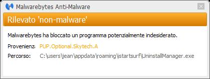 istartsurf.com détecté par Malwarebytes Anti-Malware Premium