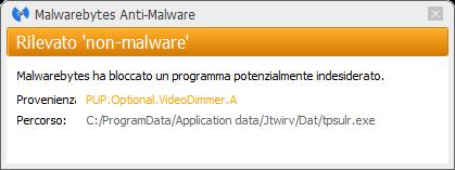 VideoDimmer détecté par Malwarebytes Anti-Malware Premium