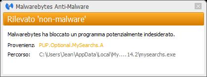 MySearchs bloqué par Malwarebytes Anti-Malware Premium
