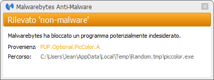 PicColor bloqué par Malwarebytes Anti-Malware Premium