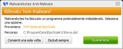 Epic Scale bloqué par Malwarebytes Anti-Malware Premium