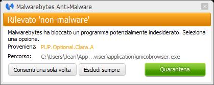 Unico Browser bloqué par Malwarebytes Anti-Malware Premium