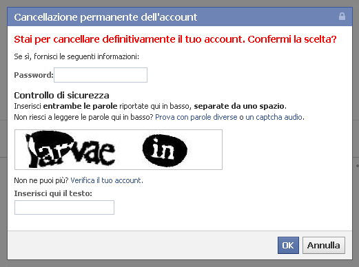 Eliminare account facebook: paso 2