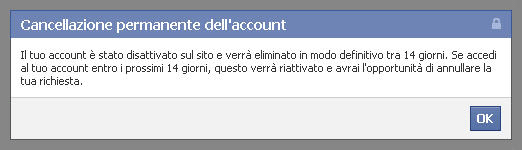 Eliminare account facebook: paso 3