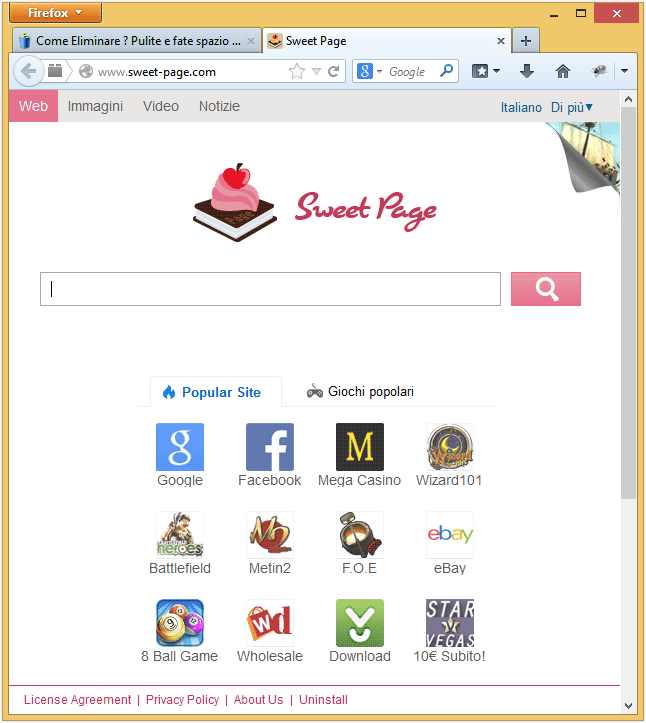 eliminare sweet page