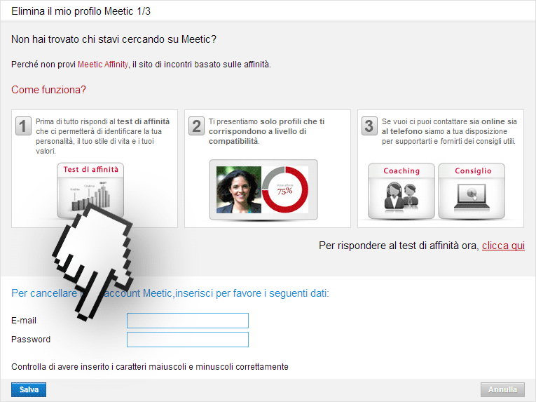 eliminare meetic paso 1